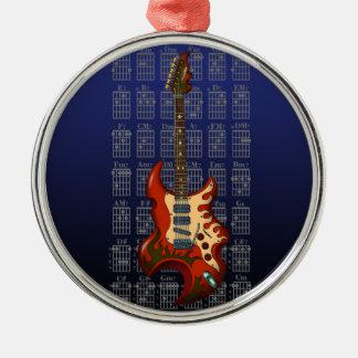 KuuMa Guitar 01 Round Metal Christmas Ornament