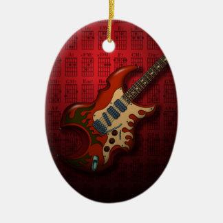 KuuMa Guitar 01 (R) Double-Sided Oval Ceramic Christmas Ornament