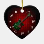 KuuMa Guitar Clock Adorno Navideño De Cerámica En Forma De Corazón
