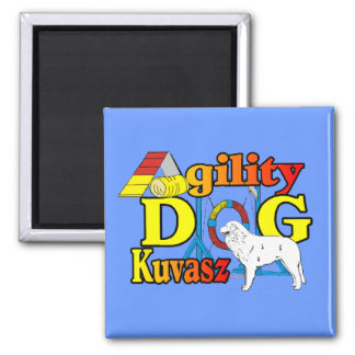 Kuvasz_Agility Gifts 2 Inch Square Magnet