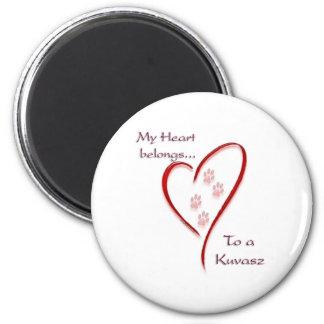 Kuvasz Heart Belongs 2 Inch Round Magnet