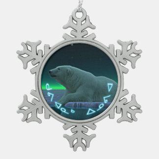 Kuvianak Innovia - Ice Edge Polar Bear Snowflake Pewter Christmas Ornament