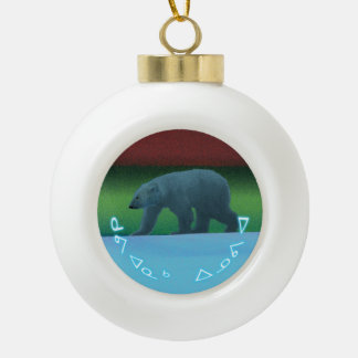Kuvianak Innovia - Polar Lights Polar Bear Ceramic Ball Christmas Ornament