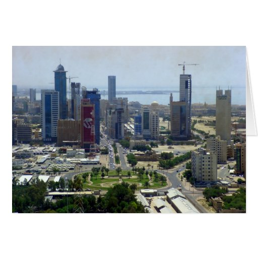 Kuwait City, bird eye view Greeting Card