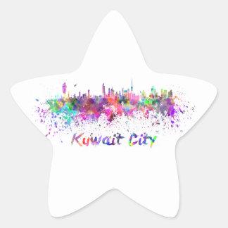Kuwait City skyline in watercolor Star Sticker