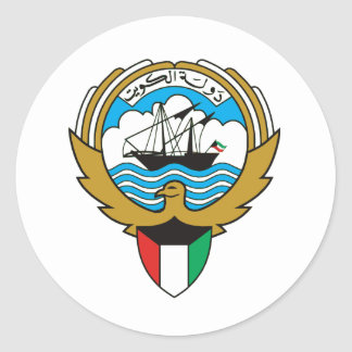 Kuwait coat of arms classic round sticker