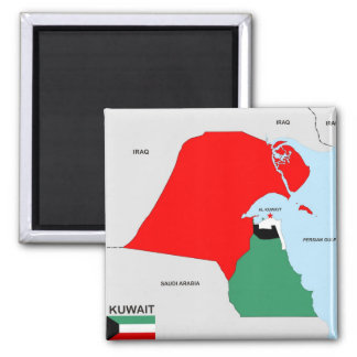 kuwait country map flag 2 inch square magnet