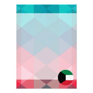 "Kuwait flag circle on modern bokeh 5"" x 7"" invitation card"