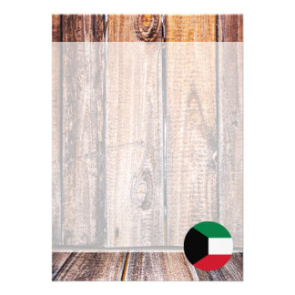 """Kuwait flag circle on wood background 5"""" x 7"""" invitation card"""