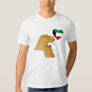 Kuwait Flag Heart and Map T-Shirt