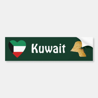 Kuwait Flag Heart + Map Bumper Sticker Car Bumper Sticker