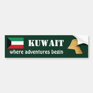 Kuwait Flag + Map Bumper Sticker Car Bumper Sticker