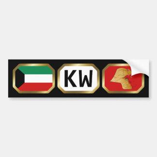 Kuwait Flag Map Code Bumper Sticker Car Bumper Sticker