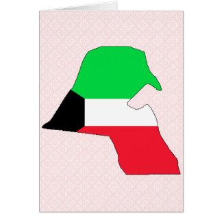Kuwait Flag Map full size Greeting Cards