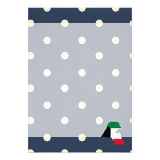 "kuwait Flag Map on Polka Dots 5"" X 7"" Invitation Card"