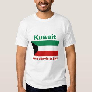 Kuwait Flag + Map + Text T-Shirt