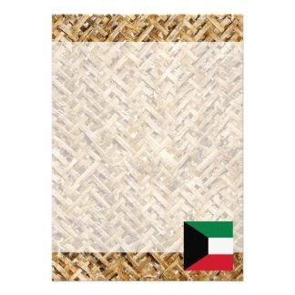 "Kuwait Flag on Textile themed 5"" X 7"" Invitation Card"
