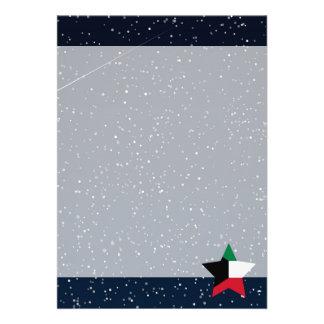 "Kuwait Flag Star In Space 5"" X 7"" Invitation Card"