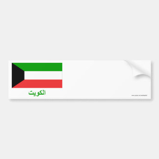 Kuwait Flag with Name in Arabic Bumper Sticker