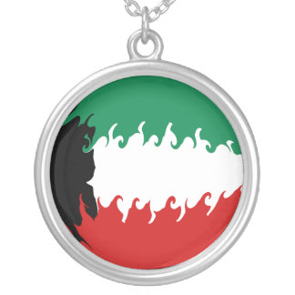 Kuwait Gnarly Flag Silver Plated Necklace