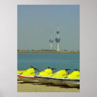 Kuwait towers and jet ski poster