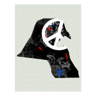Kuwait Trendy Peace Sign with Kuwaiti map Postcard