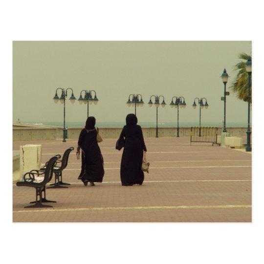 Kuwaiti women shopping postcard