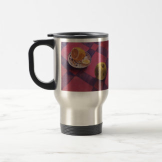 Kuzma Petrov-Vodkin- Apple and lemon 15 Oz Stainless Steel Travel Mug