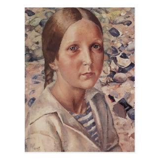 Kuzma Petrov-Vodkin- The girl on the beach Post Card