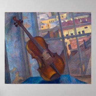 Kuzma Petrov-Vodkin - un violín Póster