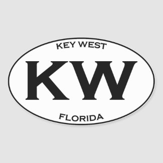 KW-Kew West Florida Oval Sticker