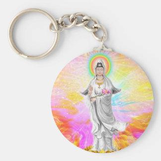 Kwan Yin la diosa de la compasión con rosa Llavero Redondo Tipo Pin
