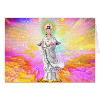 Kwan Yin la diosa de la compasión con rosa Felicitación