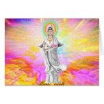 Kwan Yin la diosa de la compasión con rosa Tarjeta De Felicitación