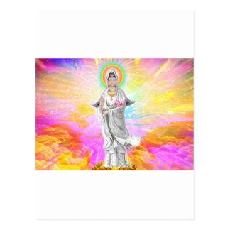 Kwan Yin la diosa de la compasión con rosa Tarjetas Postales