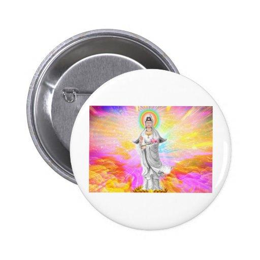 Kwan Yin la diosa de la compasión Pin Redondo De 2 Pulgadas