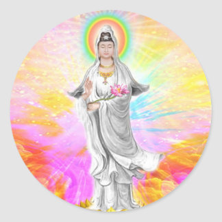 Kwan Yin The Goddess of Compassion With Pink Classic Round Sticker