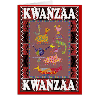 Kwanzaa, animales africanos tarjeta de felicitación