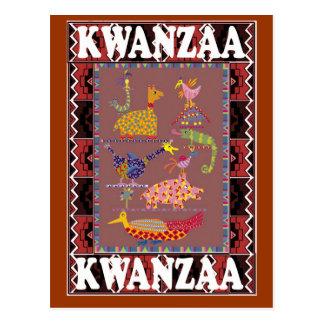 Kwanzaa - animals in the village postcard