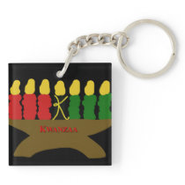 Kwanzaa Art Design 1920 with Red Text Keychain