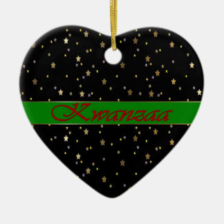 Kwanzaa Black Green Golden Stars Heart Ornament
