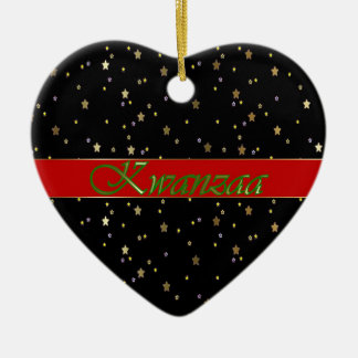 Kwanzaa Black Red Golden Stars Heart Ornament