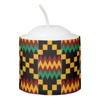 Kwanzaa Black Red Yellow Green Kente Cloth Votive Candle