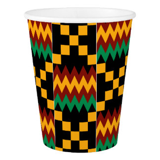 Kwanzaa Black Yellow Red Green African Kente Cloth Paper Cup