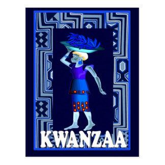 Kwanzaa -= Bringing home the shopping Postcard