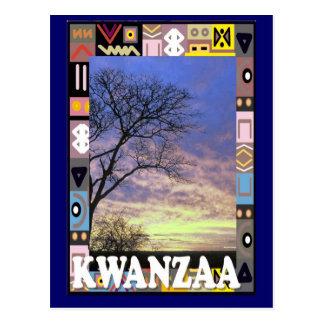Kwanzaa - campo de la puesta del sol postal