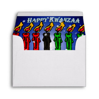 Kwanzaa Candle Kinara with Snow And Greeting Envelope