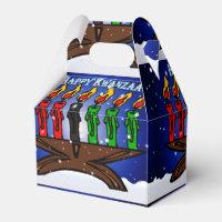 Kwanzaa Candle Kinara with Snow And Greeting Favor Box