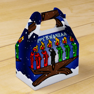 Kwanzaa Candle Kinara with Snow And Greeting Favor Box
