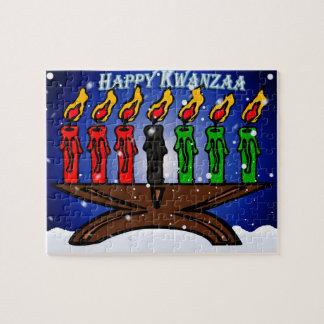 Kwanzaa Candle Kinara with Snow And Greeting Jigsaw Puzzle